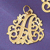 Initial A Charm Bracelet or Pendant Necklace in Yellow, White or Rose Gold DZ-9557a by Dazzlers