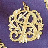 Initial B Charm Bracelet or Pendant Necklace in Yellow, White or Rose Gold DZ-9557b by Dazzlers