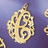 Initial C Charm Bracelet or Pendant Necklace in Yellow, White or Rose Gold DZ-9557c by Dazzlers