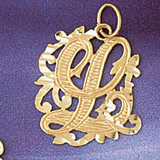 Initial L Charm Bracelet or Pendant Necklace in Yellow, White or Rose Gold DZ-9557l by Dazzlers