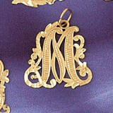 Initial M Charm Bracelet or Pendant Necklace in Yellow, White or Rose Gold DZ-9557m by Dazzlers