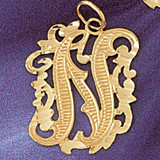 Initial N Charm Bracelet or Pendant Necklace in Yellow, White or Rose Gold DZ-9557n by Dazzlers