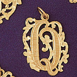 Initial Q Charm Bracelet or Pendant Necklace in Yellow, White or Rose Gold DZ-9557q by Dazzlers