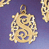 Initial S Charm Bracelet or Pendant Necklace in Yellow, White or Rose Gold DZ-9557s by Dazzlers