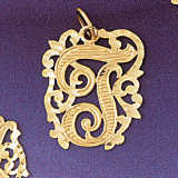 Initial T Charm Bracelet or Pendant Necklace in Yellow, White or Rose Gold DZ-9557t by Dazzlers