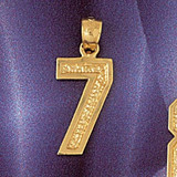 Number 7 Charm Bracelet or Pendant Necklace in Yellow, White or Rose Gold DZ-9554 by Dazzlers