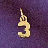 Number 3 Charm Bracelet or Pendant Necklace in Yellow, White or Rose Gold DZ-95123 by Dazzlers