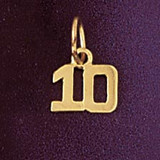 Number 10 Charm Bracelet or Pendant Necklace in Yellow, White or Rose Gold DZ-951210 by Dazzlers