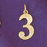 Number 3 Charm Bracelet or Pendant Necklace in Yellow, White or Rose Gold DZ-9516 by Dazzlers
