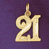Number 21 Charm Bracelet or Pendant Necklace in Yellow, White or Rose Gold DZ-9527 by Dazzlers