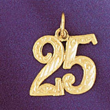 Number 25 Charm Bracelet or Pendant Necklace in Yellow, White or Rose Gold DZ-9528 by Dazzlers