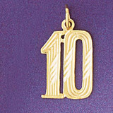 Number 10 Charm Bracelet or Pendant Necklace in Yellow, White or Rose Gold DZ-9539 by Dazzlers