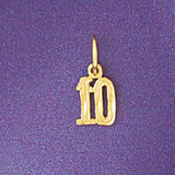 Number 10 Charm Bracelet or Pendant Necklace in Yellow, White or Rose Gold DZ-9540 by Dazzlers