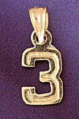 Number 3 Charm Bracelet or Pendant Necklace in Yellow, White or Rose Gold DZ-95113 by Dazzlers