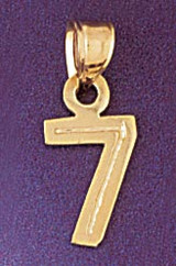 Number 7 Charm Bracelet or Pendant Necklace in Yellow, White or Rose Gold DZ-95117 by Dazzlers