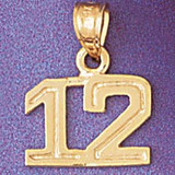 Number 12 Charm Bracelet or Pendant Necklace in Yellow, White or Rose Gold DZ-951112 by Dazzlers