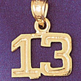 Number 13 Charm Bracelet or Pendant Necklace in Yellow, White or Rose Gold DZ-951113 by Dazzlers