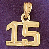 Number 15 Charm Bracelet or Pendant Necklace in Yellow, White or Rose Gold DZ-951115 by Dazzlers