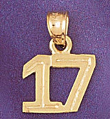 Number 17 Charm Bracelet or Pendant Necklace in Yellow, White or Rose Gold DZ-951117 by Dazzlers
