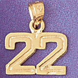 Number 22 Charm Bracelet or Pendant Necklace in Yellow, White or Rose Gold DZ-951122 by Dazzlers
