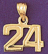 Number 24 Charm Bracelet or Pendant Necklace in Yellow, White or Rose Gold DZ-951124 by Dazzlers