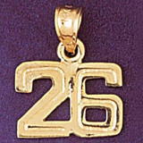 Number 26 Charm Bracelet or Pendant Necklace in Yellow, White or Rose Gold DZ-951126 by Dazzlers