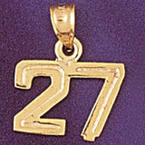 Number 27 Charm Bracelet or Pendant Necklace in Yellow, White or Rose Gold DZ-951127 by Dazzlers