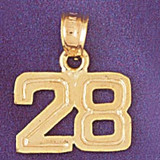 Number 28 Charm Bracelet or Pendant Necklace in Yellow, White or Rose Gold DZ-951128 by Dazzlers