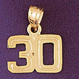 Number 30 Charm Bracelet or Pendant Necklace in Yellow, White or Rose Gold DZ-951130 by Dazzlers