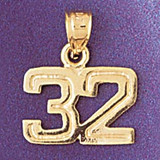Number 32 Charm Bracelet or Pendant Necklace in Yellow, White or Rose Gold DZ-951132 by Dazzlers