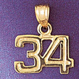 Number 34 Charm Bracelet or Pendant Necklace in Yellow, White or Rose Gold DZ-951134 by Dazzlers