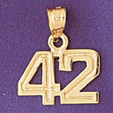 Number 42 Charm Bracelet or Pendant Necklace in Yellow, White or Rose Gold DZ-951142 by Dazzlers