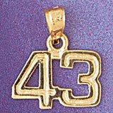 Number 43 Charm Bracelet or Pendant Necklace in Yellow, White or Rose Gold DZ-951143 by Dazzlers
