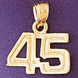 Number 45 Charm Bracelet or Pendant Necklace in Yellow, White or Rose Gold DZ-951145 by Dazzlers