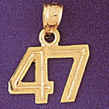 Number 47 Charm Bracelet or Pendant Necklace in Yellow, White or Rose Gold DZ-951147 by Dazzlers