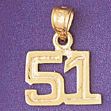 Number 51 Charm Bracelet or Pendant Necklace in Yellow, White or Rose Gold DZ-951151 by Dazzlers