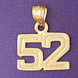 Number 52 Charm Bracelet or Pendant Necklace in Yellow, White or Rose Gold DZ-951152 by Dazzlers