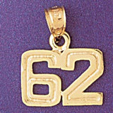 Number 62 Charm Bracelet or Pendant Necklace in Yellow, White or Rose Gold DZ-951162 by Dazzlers