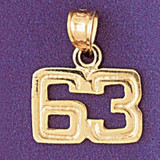 Number 63 Charm Bracelet or Pendant Necklace in Yellow, White or Rose Gold DZ-951163 by Dazzlers