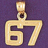 Number 67 Charm Bracelet or Pendant Necklace in Yellow, White or Rose Gold DZ-951167 by Dazzlers