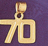 Number 70 Charm Bracelet or Pendant Necklace in Yellow, White or Rose Gold DZ-951170 by Dazzlers