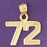 Number 72 Charm Bracelet or Pendant Necklace in Yellow, White or Rose Gold DZ-951172 by Dazzlers