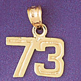 Number 73 Charm Bracelet or Pendant Necklace in Yellow, White or Rose Gold DZ-951173 by Dazzlers