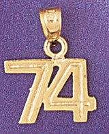 Number 74 Charm Bracelet or Pendant Necklace in Yellow, White or Rose Gold DZ-951174 by Dazzlers