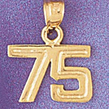 Number 75 Charm Bracelet or Pendant Necklace in Yellow, White or Rose Gold DZ-951175 by Dazzlers