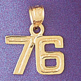 Number 76 Charm Bracelet or Pendant Necklace in Yellow, White or Rose Gold DZ-951176 by Dazzlers