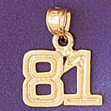 Number 81 Charm Bracelet or Pendant Necklace in Yellow, White or Rose Gold DZ-951181 by Dazzlers