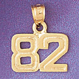 Number 82 Charm Bracelet or Pendant Necklace in Yellow, White or Rose Gold DZ-951182 by Dazzlers