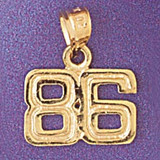 Number 86 Charm Bracelet or Pendant Necklace in Yellow, White or Rose Gold DZ-951186 by Dazzlers