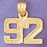 Number 92 Charm Bracelet or Pendant Necklace in Yellow, White or Rose Gold DZ-951192 by Dazzlers